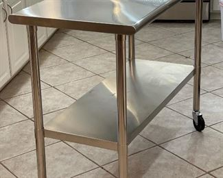 Trinity Stainless Steel NSF Rolling Kitchen Cart CTLS-0201c-139x24x48inHxWxD
