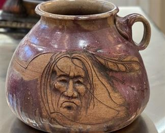 Native American Pottery Vase Signed Face8x10x9inHxWxD