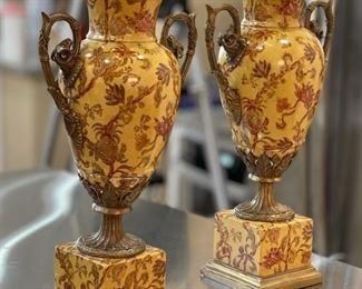 2pc Mark Roberts Ram Handle Pedestal Vase/Urn Pair Bronse Enamel Porcelain18x10x6inHxWxD