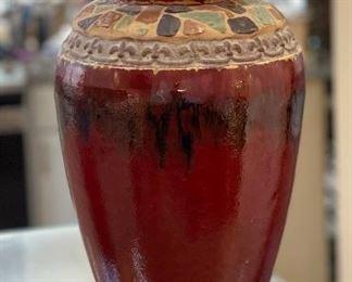 Venetian Red Large Pedestal Ceramic Vase22in H x 11in Diameter
