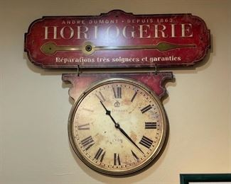 French wall clock Horlogerie Dumont Reproduction21x22in