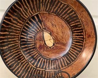 Ethnic Wood & Epoxy  Decor Disc/Bowl Small2.5in H x 12.5in Diameter
