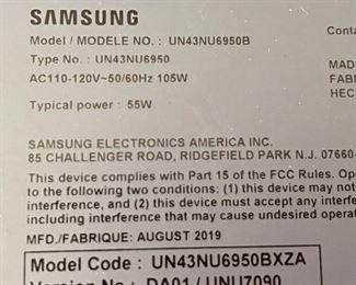 Samsung 43IN 4K UHD SMART LED TV UN43NU695022x38x3inHxWxD