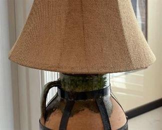 Rustic Ceramic & Iron Table Lamp28in H x 13in Diameter