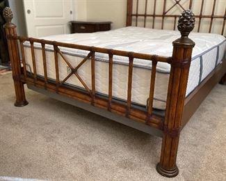 Queen Palm Beach Rattan Bed w/ Adjustable Serra Oliverton Mattress70 x 66 x 88HxWxD