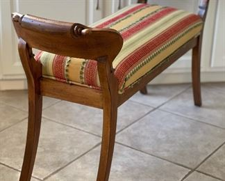 Carved Wood upholstered Bench27x46x15inHxWxD