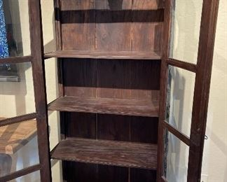 Antique Rustic Double Dome Curio cabinet Display case77x31x14.5inHxWxD