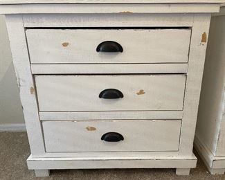 2pc Woodlands Distressed White Nightstands 3-Drawer Chest PAIR31x32x17inHxWxD