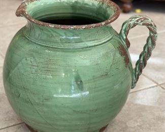 Green Pitcher Style Decor Vase14x14x18inHxWxD