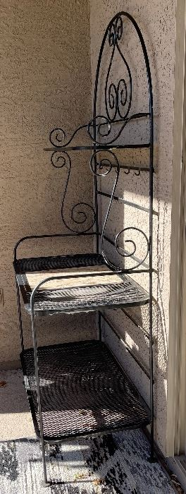 Wrought Iron & Granite 3-Tier Garden Rack76 x 37 x 22HxWxD