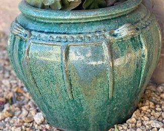 Outdoor Faux Plant Green potPot: 14in H x 16in Diameter
