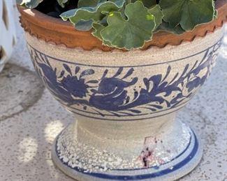"""#3 Outdoor Faux Plant Pot Blue/WhitePot 18"""" x 18"""" diameter"""
