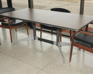 Herman Miller Eames Aluminum Group Segmented Base Conference/Dining Table with 4 rare George Nelson chairs
