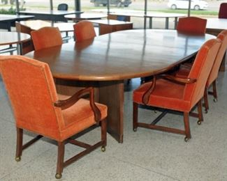 6 UPHOLSTERED CONFERENCE/DINNING  TABLE CHAIRS  ON WHEELS