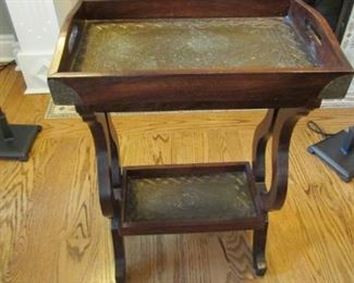 """Indonesian hardwood and tooled metal side table. H 27"""", W 18 1/4"""", D 12"""" $45"""