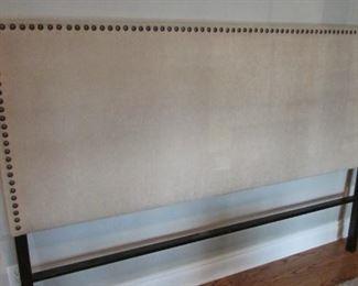 "Pier One linen upholstered headboard.  H 54 ½"", W 78"" $75"