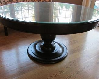 """Quatrine black lacquered round dining table.  With beveled glass cover.  With minor scratch on the base.      H 37"""", diameter 59""""  $550"""