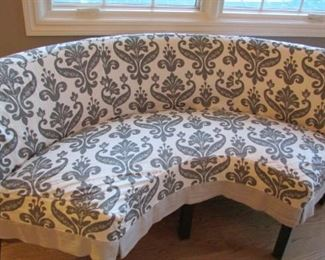 """Quatrine half circle dining bench with three chairs.  Linen slipcovers.  Bench H 33 ½"""", W 71"""", D 21"""",         chair H 34"""", W 20"""", D 21"""" $650"""