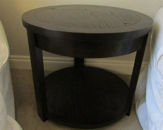 """Oak side table.  H 24"""", D 28"""" $125"""