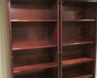 """Pair Thomasville mahogany book shelves.  One shelf with minor scratches.  H79"""", W 33 ½"""", D 16"""" $300 each"""