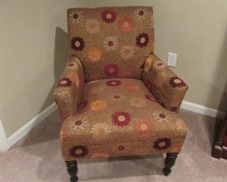"""Upholstered arm chair.  Fabric on the seat is rippled.  H 34"""", W 26"""", D 28"""" $100"""