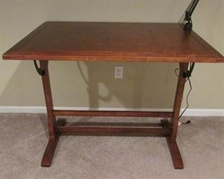 """Cherry finished drafting desk.  H 34"""", W 42"""", D 30"""" $130"""