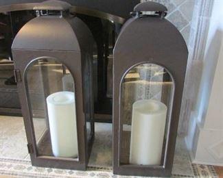 "Pair Restoration Hardware extra large bronze finished lanterns.  H 29"", W 10 ½"", D 10 ½"" $300"