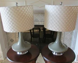"""Pair green glass table lamps.  With embroidered shades.  Height with shade 24""""  $75 each"""