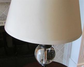 """Restoration Hardware bronze and crystal table lamp.  With silk shade.  With small crack on the inside of the shade.  Height with shade 24 3/4""""  $170"""