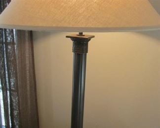 """Restoration Hardware bronze finished French Directoire table lamp.  With silk shade.   Height with shade 30""""  $200"""