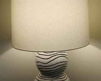 """Ceramic table lamp.  With cotton shade.  H 34"""" including shade. Shade Diameter 19"""" $150"""