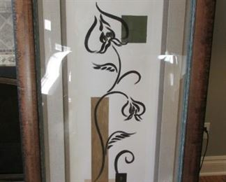 """Signed Jardice. Lithograph within a distressed wood frame.  Print 38"""" x 14 ½"""", frame 55"""" x 30 ½"""" $130"""