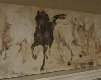 """Print of canvas of horses.  20"""" x 39 ¼"""" $30"""