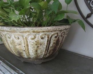 """Ceramic glazed planter.   H 7 ½"""", D 14 ½"""". $25"""