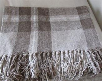 """Restoration Hardware chenille window pane throw.  With some pulled yard and broken threads.  70"""" x 50"""" $35"""