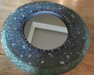 """Glass framed round mirror.  Diameter 20"""" $35"""