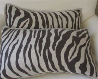 """Two Quatrine Zebra pattern pillows.  21"""" x 12"""" $18 each"""