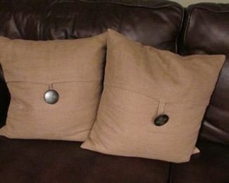 """Two linen covered pillows with buttons.  17"""" x 17""""             $8 each"""