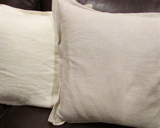 """Two linen covered pillows with button. 17"""" x 17"""" $8 each"""