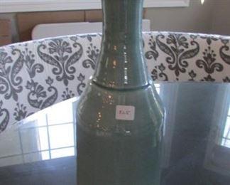 "Blue glazed ceramic vase4. H 17 3/4"" $25"