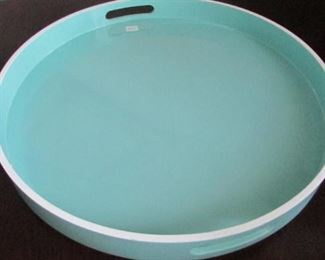 """West Elm lacquered round tray. With superficial scratches. Diameter 12"""" $27"""