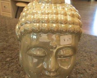 "Ceramic Buddha head. h 12"" $27"