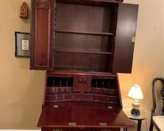 #1Antique Mahogany secretary (2 piece) with 3 drawers and accordian door   35x21-37x90 $475.00
