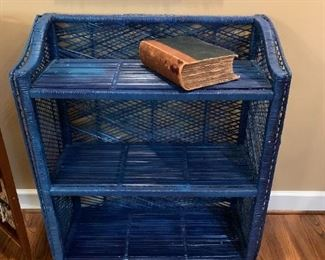 #4	blue wicker 3 shelf 32x14x37  (as is wicker on back)	 $30.00