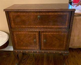 #8Side Bar w/drop down bar inlaid w/burled Wood  33x14-21x38 $300.00