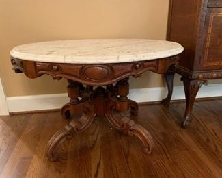 #9	Marble Top Pedistal Table  34x24x20	 $175.00