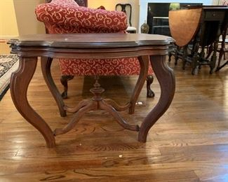 #10	Wood End Table w/cross-bar w/finial  33x24x22	 $125.00