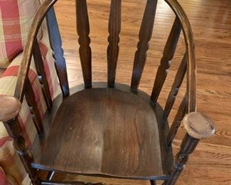 #11Wood Barrel Chair w/Round Knob Top Post on arms -The Elain A Simonds Co, Furniture Co. - NY $125.00