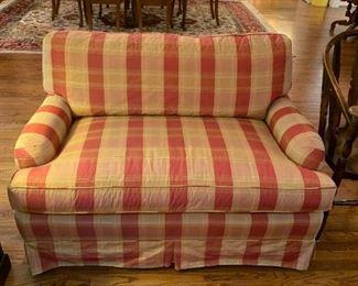 "#12Yellow/Rust Upholstered Loveseat - 49"" Long $175.00"