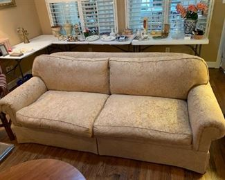 "#13	Gold Down-filled Sofa 87"" Long	 $200.00"